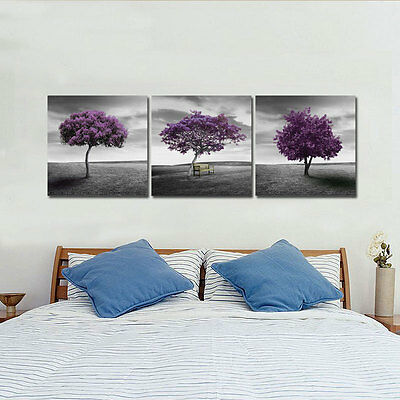 Canvas Print Abstract Picture Painting Poster Home Decor Landscape Trees Purple