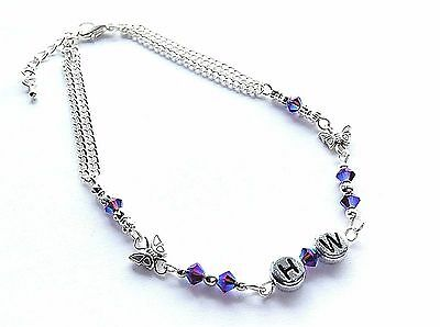Blue / Purple Faceted Beads, Butterflies & Bows Hw = Hot Wife Anklet