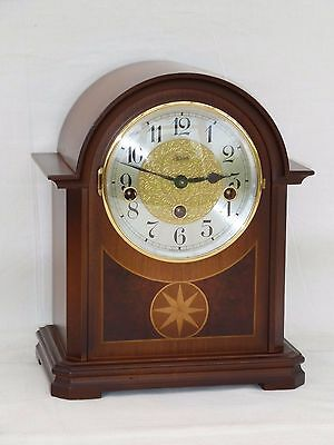 Superb Hermle 8 Day Walnut Inlay Westminster Bracket Mantle Mantel Chime Clock