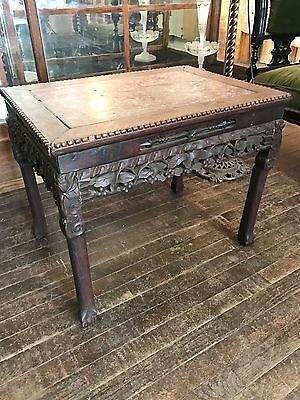Antique Victorian Old Asian Oriental Chinese Teak Wood Carved Lamp End Table