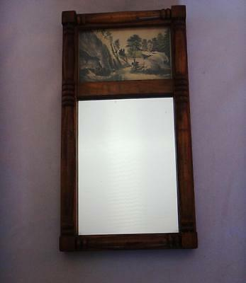 Small Vintage or Antique Wood Frame Hanging Mirror with Landscape Print