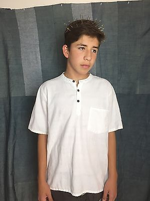 Men's White Cotton Short Sleeve Henley Shirt Size M Made In Nepal