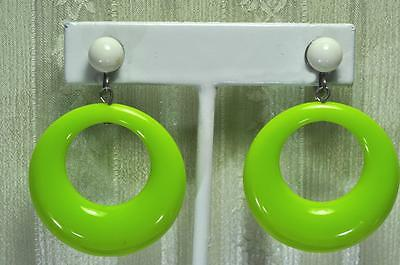 1960s Screwback Earrings Lucite Dangle Hoops Mod Dayglow Green Early Plastic