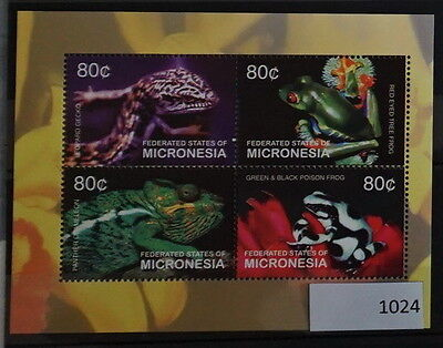 S0 1024 lizards, Reptiles Micronesia MNH 2004 Poison Tree Frogs