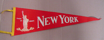 """Vintage New York Statue Of Liberty Red Pennant 26 1/2"""" Travel Souvenir"""