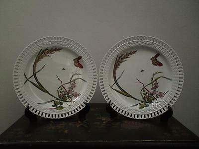 Two Antique Victorian Aesthetic Movement Minton pottery reticulated plates