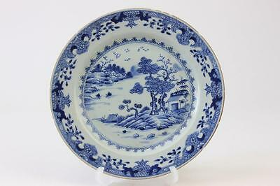 Antique Chinese Porcelain Blue & White Plate With Hand Painted Landscape Scene