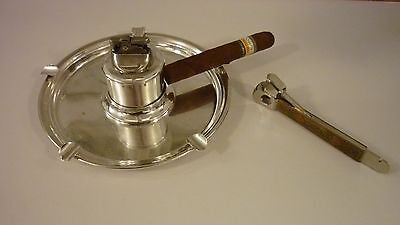 Large Art Deco Sterling Silver Baldwin&miller Cigar Ashtray-Lighter Set-Fabulous