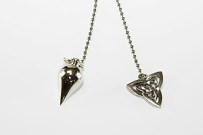 Silver Pendulum with Triquetra Chain 7 Chakra Healing Dowsing Divination Wiccan