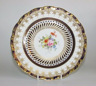 Fine Antique Royal Crown Derby Hand Painted and Gilt Floral Cabinet Plate c1899