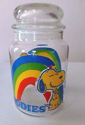 """Peanuts Snoopy Woodstock Rainbow Glass Jar Canister Goodies Treats 7"""" With Lid"""