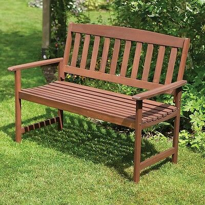 Wooden 2-Seater Bench Robust Two Seat Garden Bench New