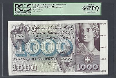 Switzerland 1000 Francs ND(1954-74) P52s Specimen Perforated Uncirculated