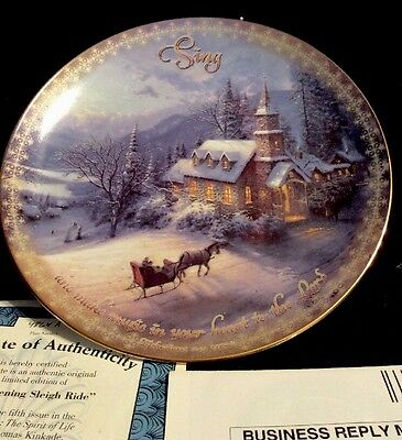 Thomas Kinkade Collector Plate Sunday Evening Sleigh Ride Bradford Exchange