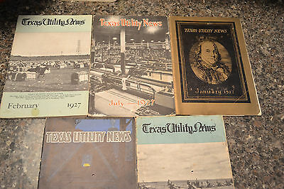 5 Issues Texas Utility News--1920's--90 Years Old--TXU--Dallas--Rare--TP&L