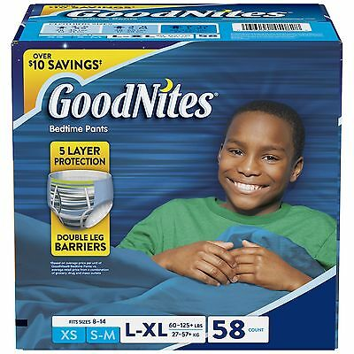 GoodNites for Boys Size L/XL 58 count | Clothing Size 8-14, 60-125 lbs