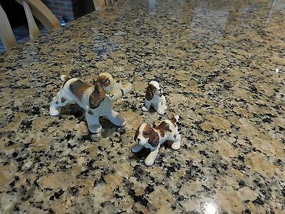 Vintage NAPCO Japan Cocker Spaniel Figurines( Lot 3 ) Mother and Two Pups