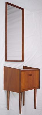 MODERN DANISH DESIGN - TEAK NIGHT STAND + MIRROR - Wegner Era