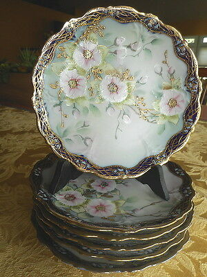 Set of 6 Antique HP Japanese Dessert Plates IE&C CO 1885-1925