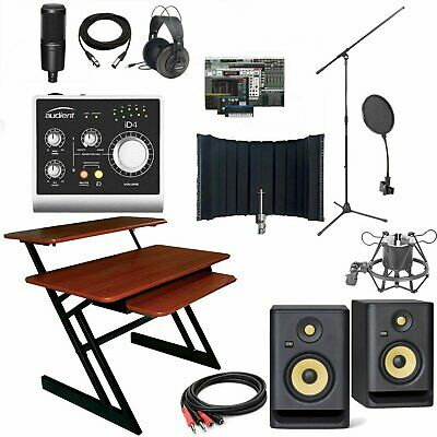 Audient iD4 Recording Bundle + Desk KRK Rokit 5 Pro Tools Studio Package