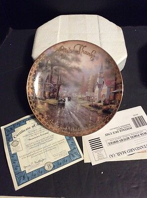 "Thomas Kinkade Collectible 8"" Plate Hometown Evening Bradford Exchange Plate"