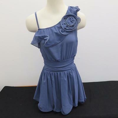 Dance Costume Small Adult Blue Ruffle Dress Lyrical Ballet Solo Competition