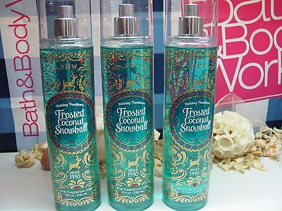 Bath and Body Works( 3 ) ~ Frosted Coconut Snowball ~  Fine Fragrance Mist 8 oz