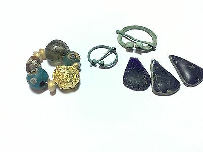 Beautiful ancient beads (1 gold bead) and bronze ornaments (7-10 centuries.)
