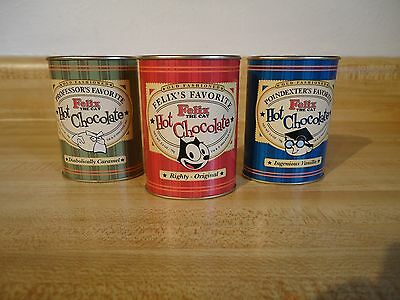Lot of (3) Felix the Cat - Professor - Poindexter Hot Chocolate Tins
