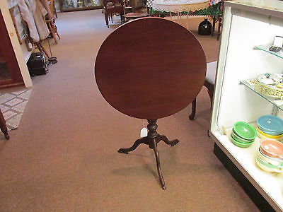 S51 antique mahogany swivel tilt top table stand bird cage pedestal 3 bill feet