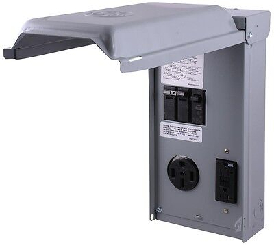 Unmetered RV Outlet Box GE 70 240-Volt Amp GCFI Circuit Protected Receptacles