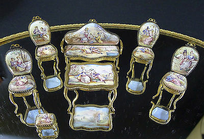 Antique Viennese Austrian Enamel Sofa and Chairs