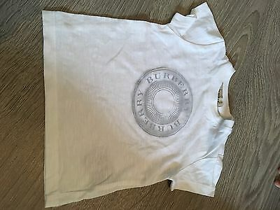 Baby Boys White Burberry T Shirt Aged 6months