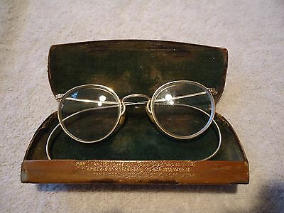 Antique Gold Rim Eye Glasses with Tin Case
