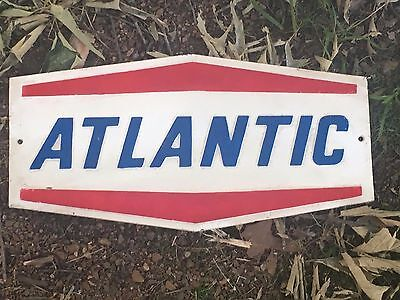 "17"" x 9"" CAST IRON ""ATLANTIC"" OIL & GAS RED WHITE & BLUE CAST IRON SIGN"