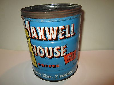 Vintage Maxwell House 2 Pound Twist Off Coffee Tin Advertising Beverage Can