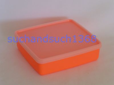 NEW Tupperware Square-A-Way Lunchbox Sandwich Storage Container-Neon Orange #670