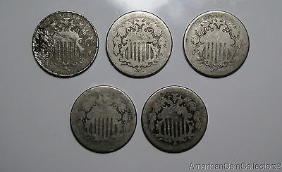 Collection of ( 5 ) No Date Shield Nickels .05c | No Reserve Auction | 6929