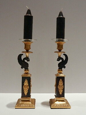 Pair of French Empire-Style Gilt & Patinated Bronze Candleholders