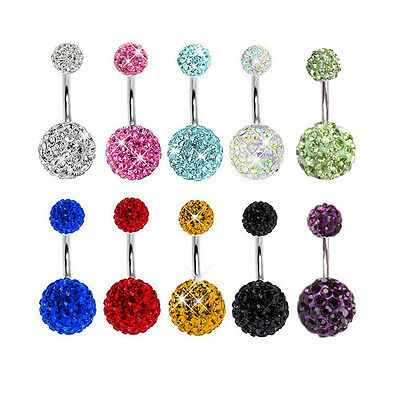 Navel Belly Button Ring Barbell Rhinestone Crystal Ball Piercing Body Jewelry