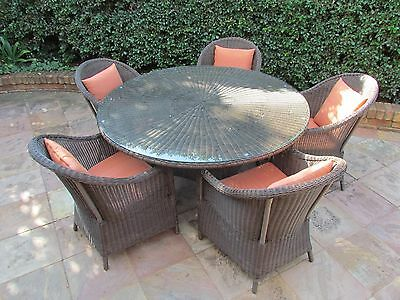 Outdoor Round Wicker/Rattan 8 Seat Dining Table Setting