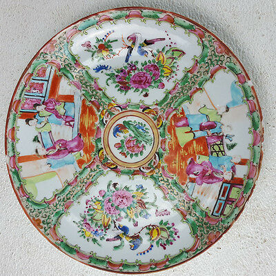"""Antique Chinese Rose Medallion 9 3/4"""" Plate Hand Painted Birds Flowers"""