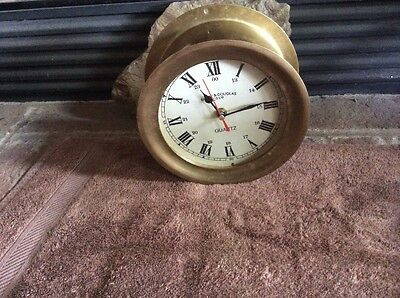 Emory & Douglas Ship's Clock quartz  look very cool Boat Nautical Brass