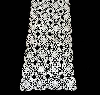 Vintage cream crochet lace long pretty table runner centrepiece measuring 84cm