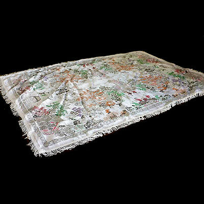 Vintage shimmery damask Japanese willow pattern style throw cloth