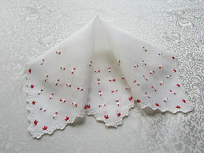 Vintage Winter White Hankie with Embroidered Red & White Flowers