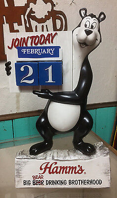 Vintage 1960's Hamms Beer Calendar Bear Sign Nice Shape! Wildlife Cabin Decor