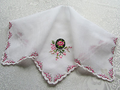 Vintage White Hankie with Embroidered & Petit Point Cameo Pink & Black Roses
