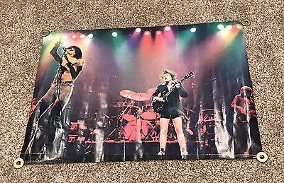 "Original 1970s AC/DC Live On Stage Poster w/ Bon Scott 29""x39"" Nice!"