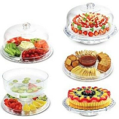 6 in 1 Multi-Function Server 12-Inch Cake Stand/Dome Chip Platter Punch Bowl NEW